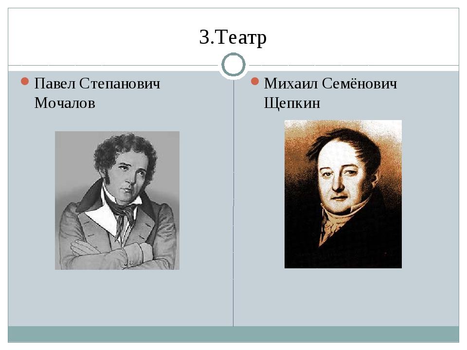3.Театр Павел Степанович Мочалов Михаил Семёнович Щепкин