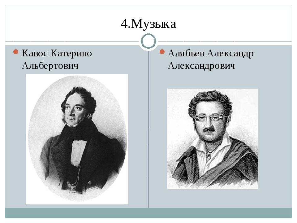 4.Музыка Кавос Катерино Альбертович Алябьев Александр Александрович