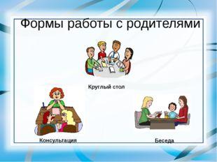 Формы работы с родителями Круглый стол Консультация Беседа