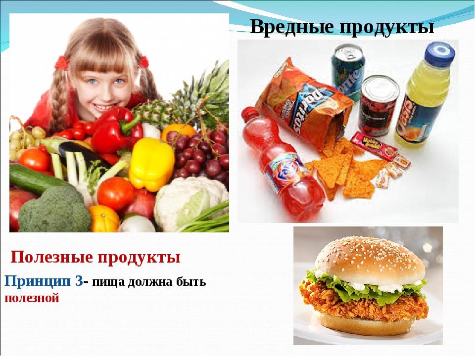 Вредные продукты Полезные продукты Принцип 3- пища должна быть полезной
