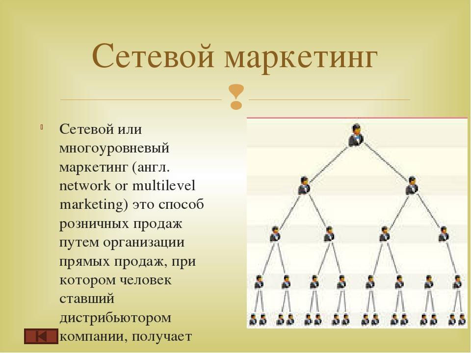 Сетевой или многоуровневый маркетинг (англ. network or multilevel marketing)...
