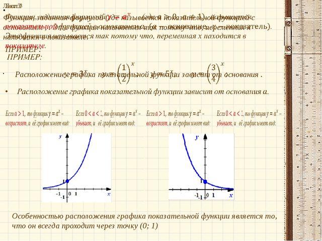 Особенностью расположения графика показательной функции является то, что он в...