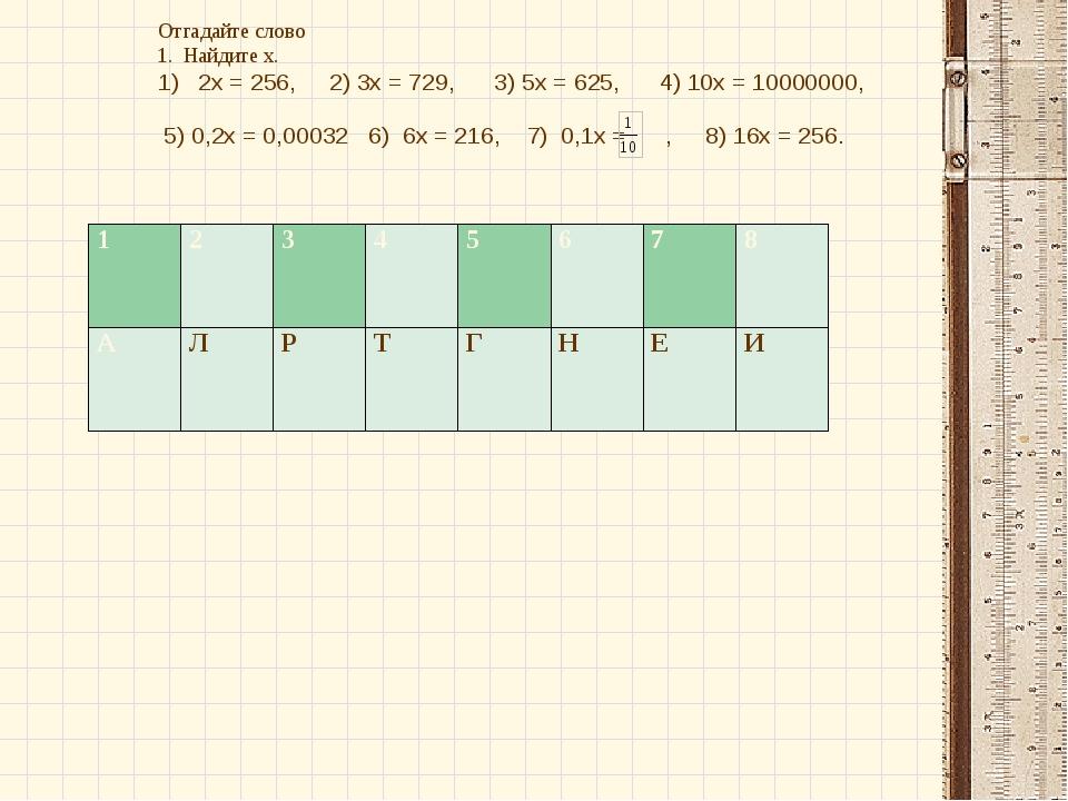 Отгадайте слово 1. Найдите х. 2х = 256, 2) 3х = 729, 3) 5х = 625, 4) 10х = 10...