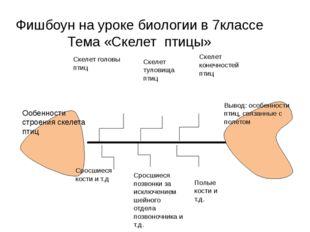 Фишбоун на уроке биологии в 7классе Тема «Скелет птицы» Ообенности строения с