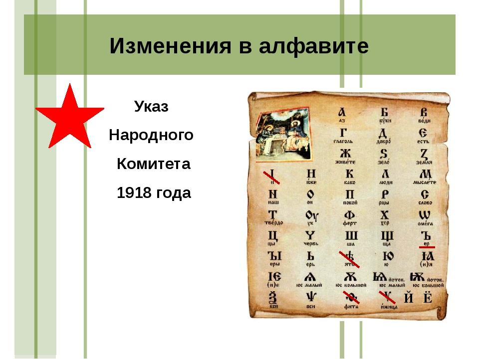 Указ Народного Комитета 1918 года Изменения в алфавите Й Ё