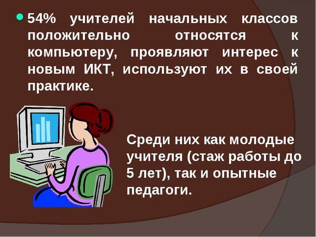 54% учителей начальных классов положительно относятся к компьютеру, проявляют...