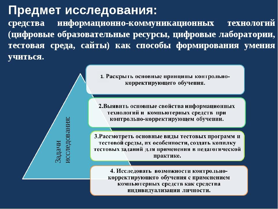 Предмет исследования: средства информационно-коммуникационных технологий (циф...