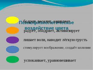 Психофизиологическое воздействие цвета бодрит, веселит, оживляет радует, обо