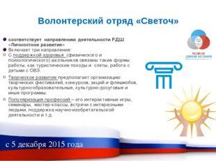 Волонтерский отряд «Светоч» соответствует направлению деятельности РДШ «Лично