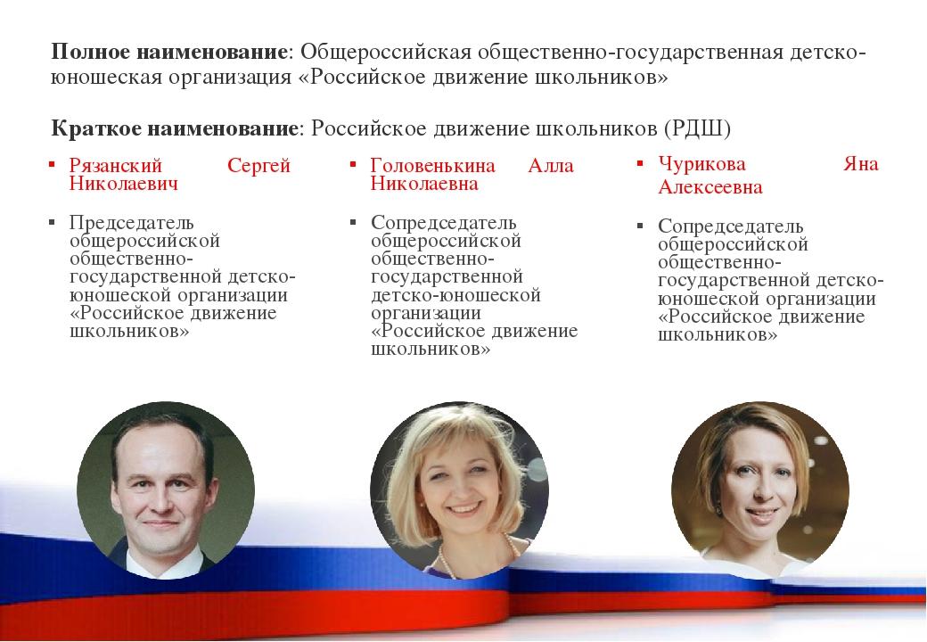 Полное наименование: Общероссийская общественно-государственная детско-юношес...