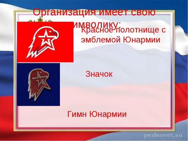 Организация имеет свою символику: Красное полотнище с эмблемой Юнармии Значок...