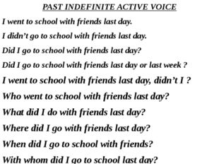PAST INDEFINITE ACTIVE VOICE I went to school with friends last day. I didn't