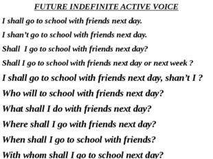FUTURE INDEFINITE ACTIVE VOICE I shall go to school with friends next day. I
