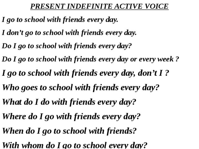 PRESENT INDEFINITE ACTIVE VOICE I go to school with friends every day. I don'...