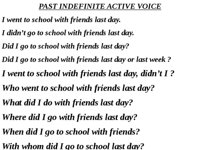 PAST INDEFINITE ACTIVE VOICE I went to school with friends last day. I didn't...