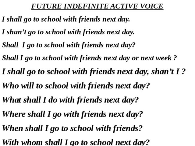 FUTURE INDEFINITE ACTIVE VOICE I shall go to school with friends next day. I...