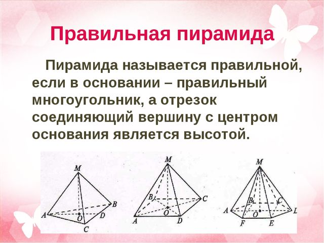Правильная пирамида Пирамида называется правильной, если в основании – правил...