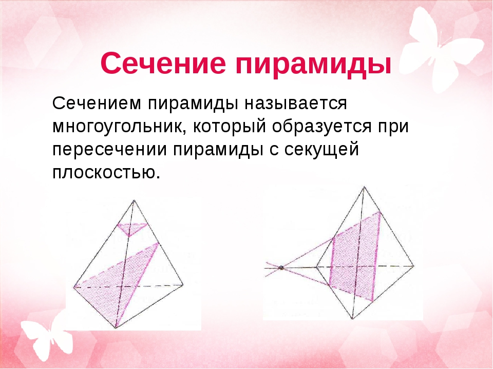 Сечение пирамиды Сечением пирамиды называется многоугольник, который образует...