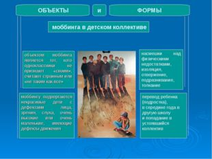 моббинга в детском коллективе ОБЪЕКТЫ ФОРМЫ и объектом моббинга является тот