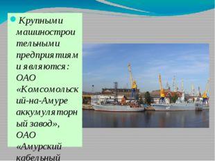 Крупными машиностроительными предприятиями являются: ОАО «Комсомольский-на-А