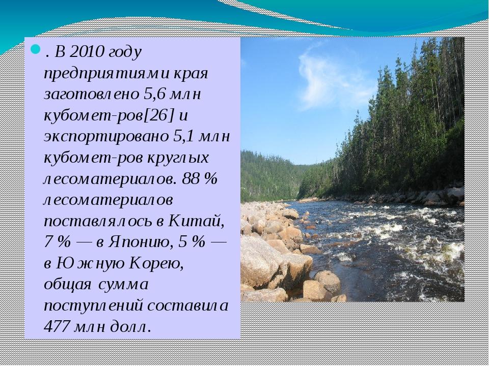 . В 2010 году предприятиями края заготовлено 5,6 млн кубометров[26] и экспо...