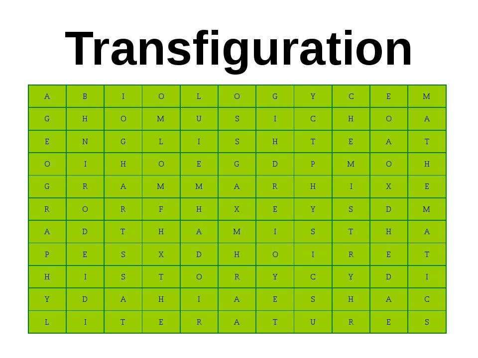 Transfiguration A B I O L O G Y C E M G H O M U S I C H O A E N G L I S H T E...