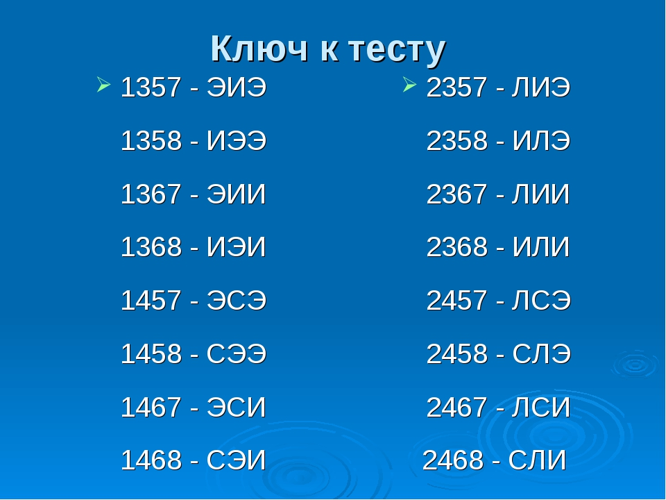 Ключ к тесту 1357 - ЭИЭ 1358 - ИЭЭ 1367 - ЭИИ 1368 - ИЭИ 1457 - ЭСЭ 1458 - СЭ...