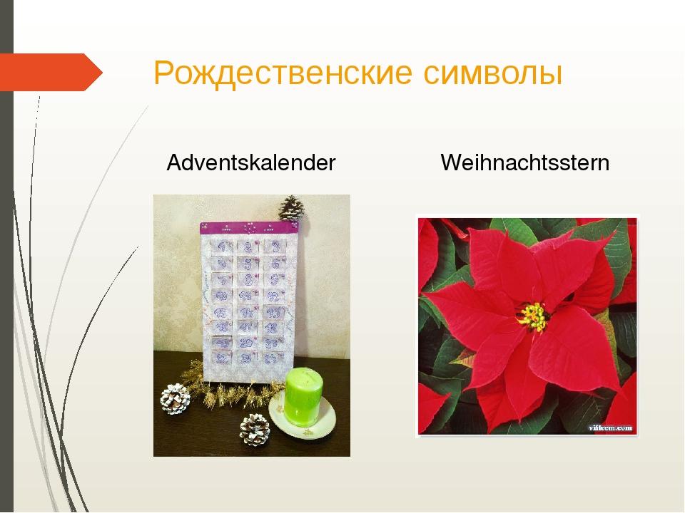 Рождественские символы Adventskalender Weihnachtsstern