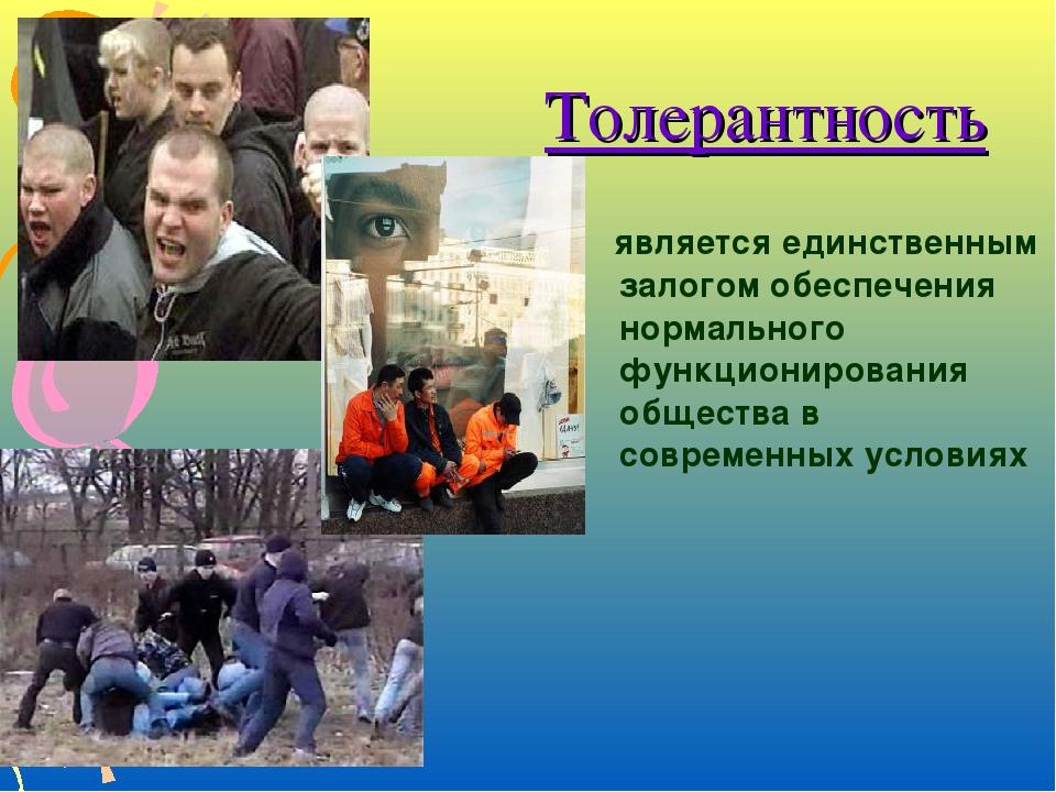 Толерантность является единственным залогом обеспечения нормального функциони...