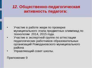 12. Общественно-педагогическая активность педагога: Участие в работе жюри по