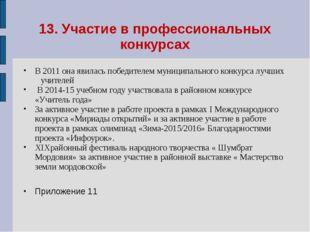 13. Участие в профессиональных конкурсах В 2011 она явилась победителем муниц