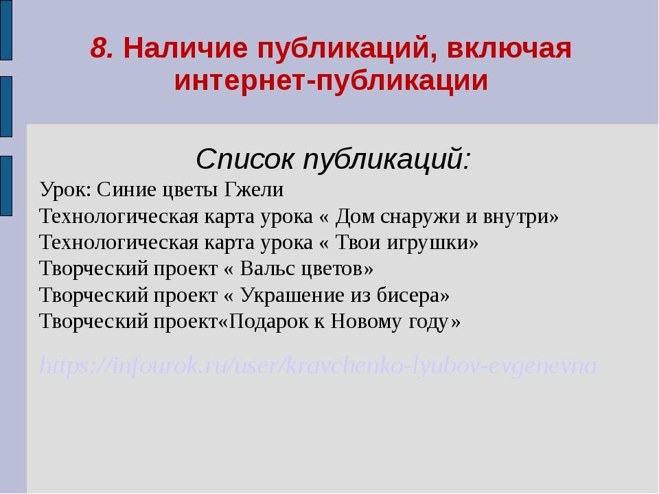 8. Наличие публикаций, включая интернет-публикации Список публикаций: Урок: С...