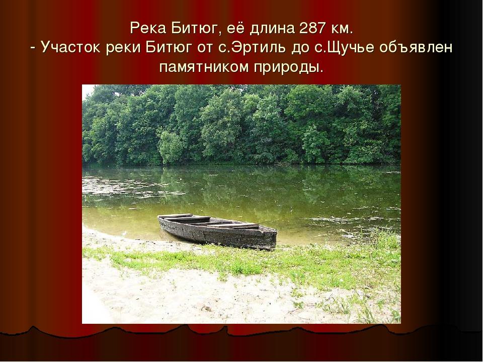Река Битюг, её длина 287 км. - Участок реки Битюг от с.Эртиль до с.Щучье объя...