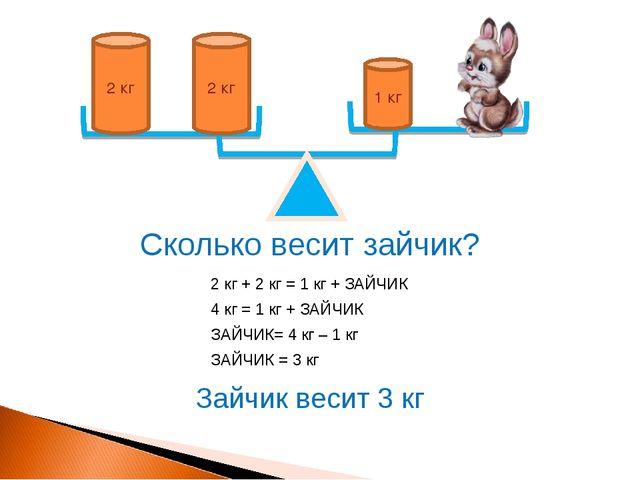 1 кг 2 кг 2 кг Сколько весит зайчик? 2 кг + 2 кг = 1 кг + ЗАЙЧИК 4 кг = 1 кг...