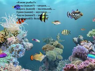 «Какие рыбы?» Щука (какая?) – хитрая, … Карась (какой) – маленький, … Ерши (к