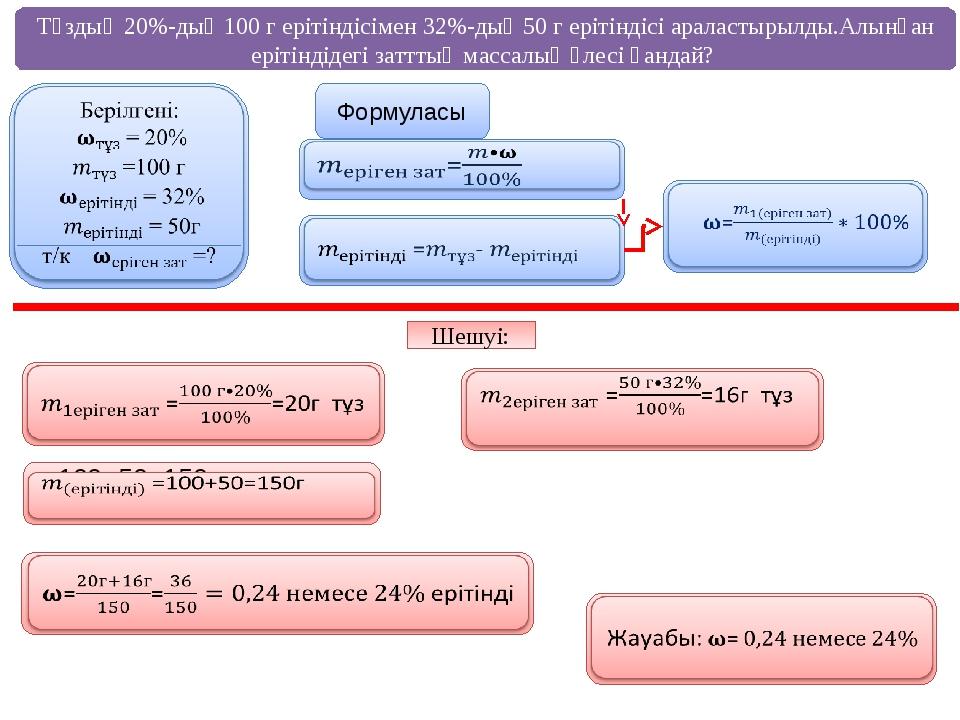 Тұздың 20%-дық 100 г ерітіндісімен 32%-дық 50 г ерітіндісі араластырылды.Алын...