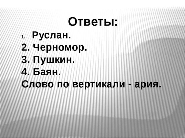 Ответы: Руслан. 2. Черномор. 3. Пушкин. 4. Баян. Слово по вертикали - ария.