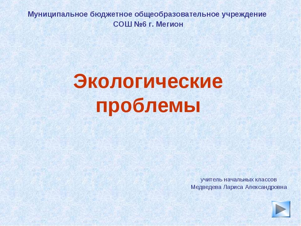 * Экологические проблемы учитель начальных классов Медведева Лариса Александр...