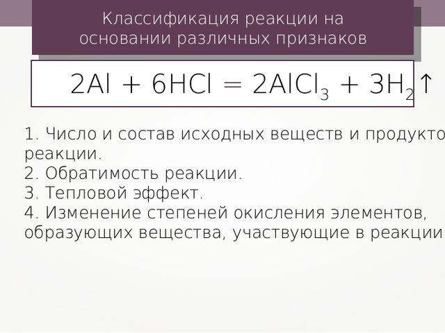 Классификация реакции на основании различных признаков 1. Число и состав исхо...