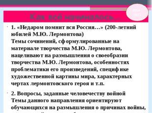 Как всё начиналось… 1. «Недаром помнит вся Россия…» (200-летний юбилей М.Ю. Л