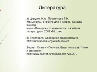 Литература а) Цирулик Н.А., Проснякова Т.Н. Умные руки. Учебник для 1 класса.