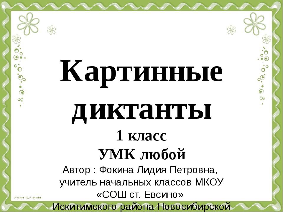 Картинные диктанты 1 класс УМК любой Автор : Фокина Лидия Петровна, учитель н...