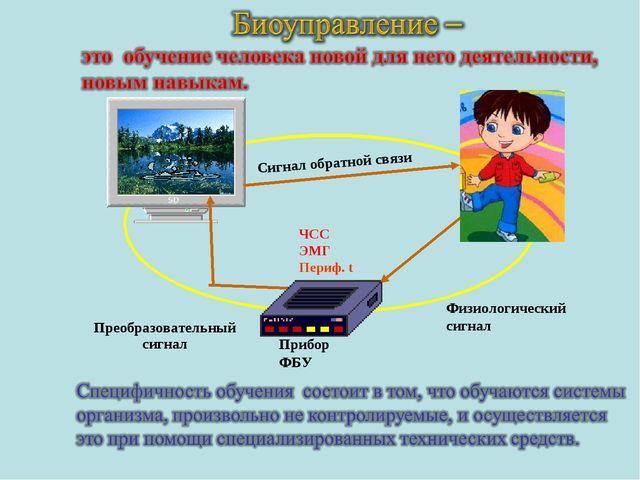 Прибор ФБУ ЧСС ЭМГ Периф. t Преобразовательный сигнал Физиологический сигнал...