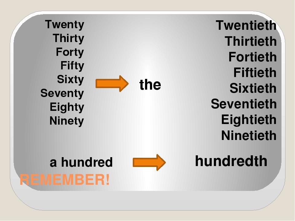 REMEMBER! Twenty Thirty Forty Fifty Sixty Seventy Eighty Ninety the Twentieth...