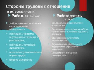 Стороны трудовых отношений и их обязанности: Работник должен: добросовестно и
