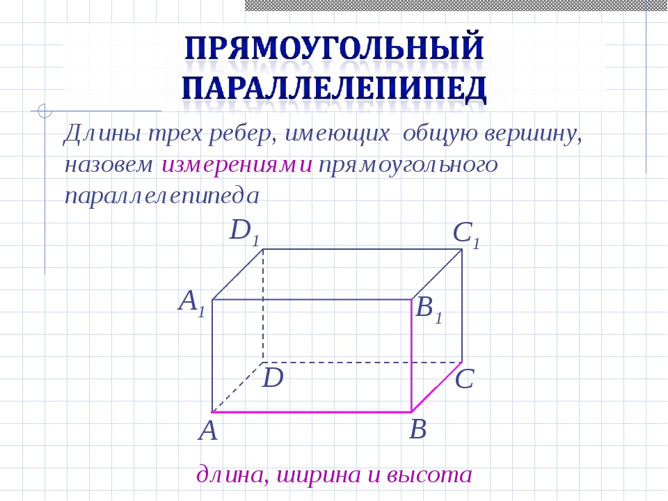Длины трех ребер, имеющих общую вершину, назовем измерениями прямоугольного п...