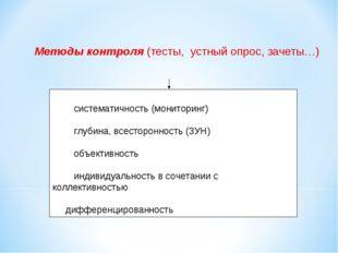 Методы контроля (тесты, устный опрос, зачеты…) · систематичность (мон