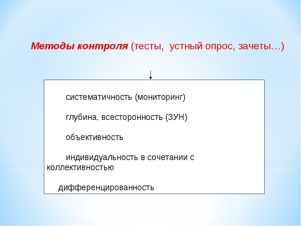 Методы контроля (тесты, устный опрос, зачеты…) · систематичность (мон...