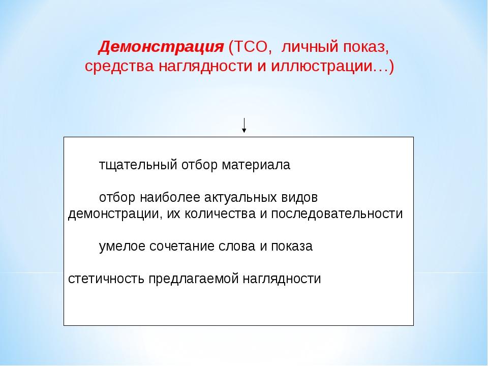 Демонстрация (ТСО, личный показ, средства наглядности и иллюстрации…) ·...