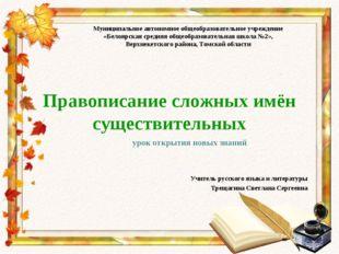 Правописание сложных имён существительных Учитель русского языка и литературы